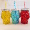 Skull coloured 450ml glass drink jar.